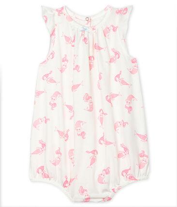 Combicourt bébé fille en jersey fin blanc Marshmallow / rose Rose