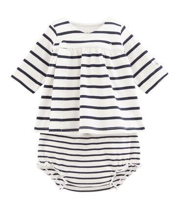 Robe et bloomer bébé fille en côte blanc Marshmallow / bleu Smoking