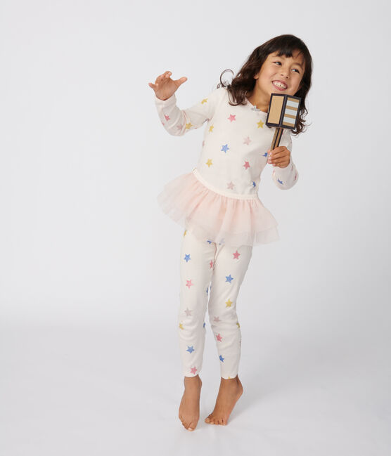Pyjama déguisement danseusee petite fille en côte rose Fleur / blanc Multico
