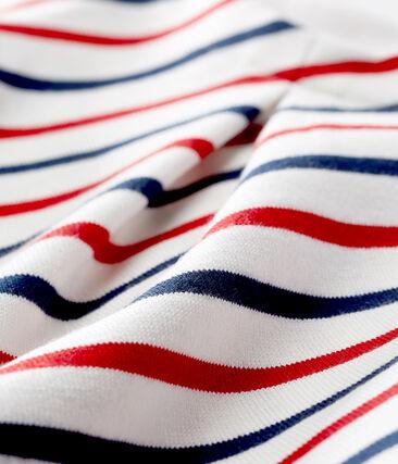 Robe manches courtes rayée bébé fille blanc Marshmallow / blanc Multico