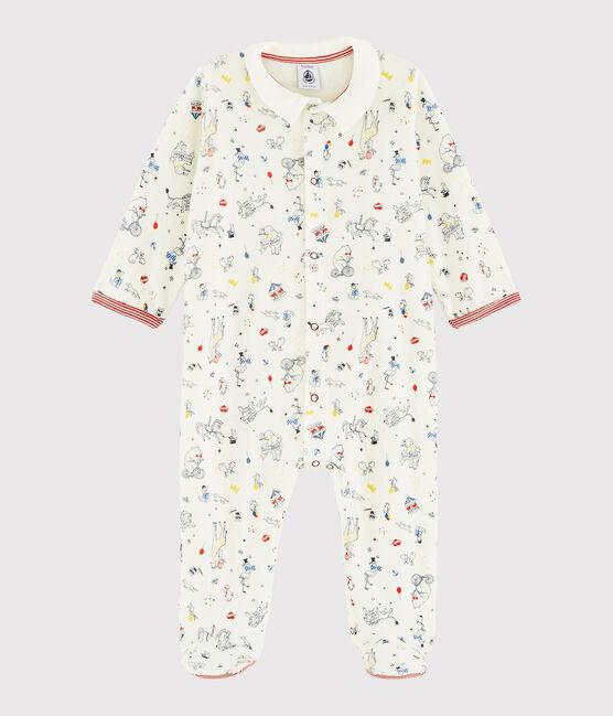 Dors-bien bébé garçon en velours blanc Marshmallow / blanc Multico