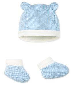 Lot bonnet et chaussons bébé garçon en tubique matelassé.