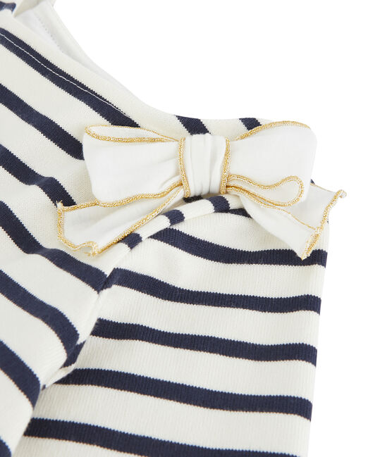 Marinière à nœud enfant fille blanc Marshmallow / bleu Smoking