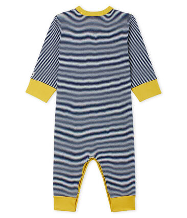 Dors bien sans pieds bébé garçon en côte bleu Medieval / blanc Marshmallow Cn