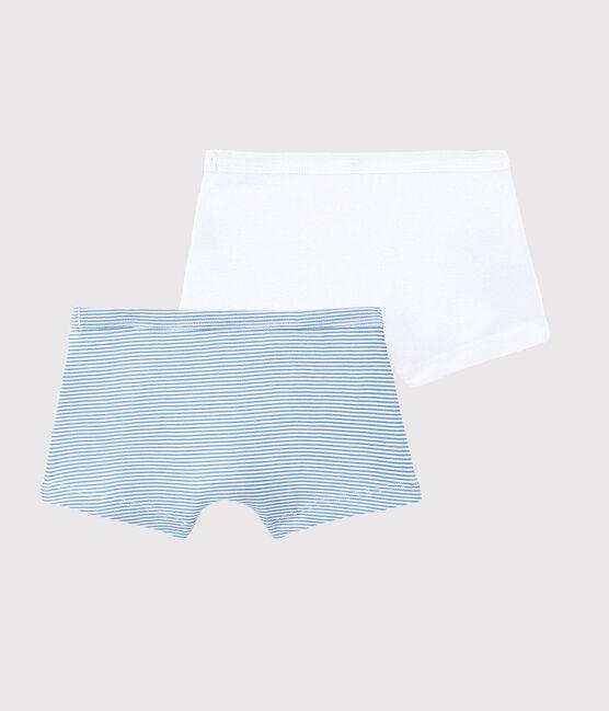 Lot de 2 boxers milleraies bleues petit garçon en coton biologique lot .