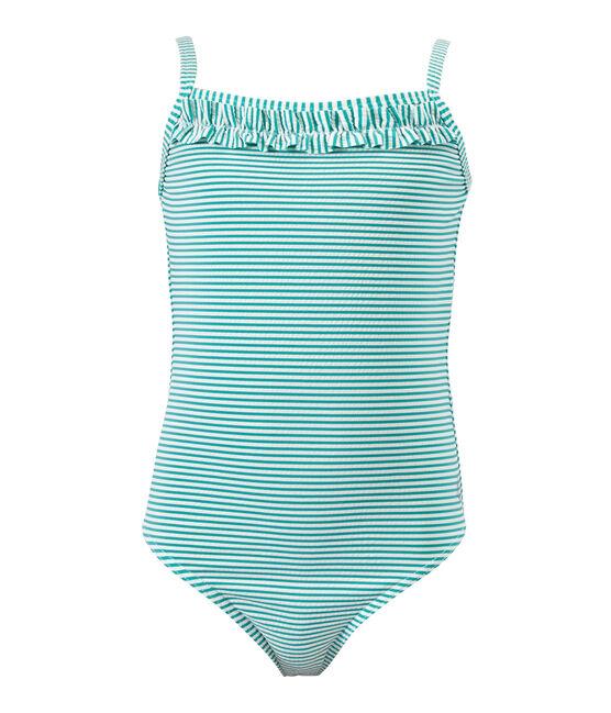 Maillot de bain fille 1 pièce rayé vert Flag / blanc Lait