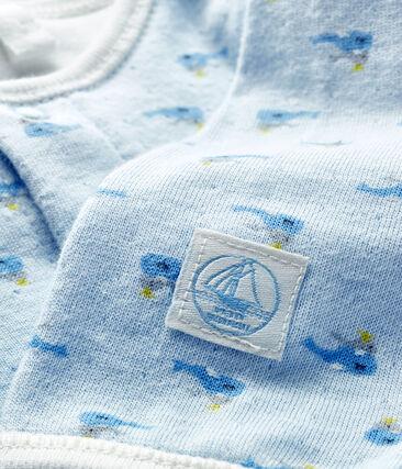 Bodyjama bébé garçon en tubique bleu Fraicheur / blanc Multico