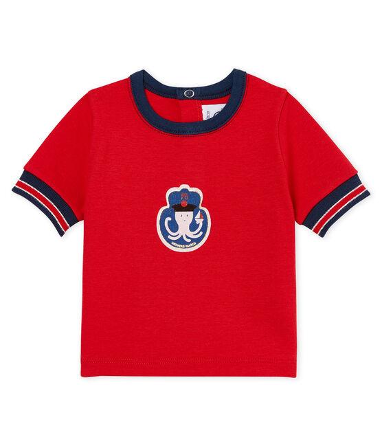 Tee-shirt manches courtes à motif bébé garçon rouge Terkuit