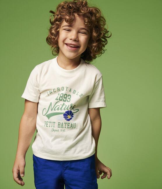 Tee-shirt manches courtes en jersey enfant garçon blanc Marshmallow