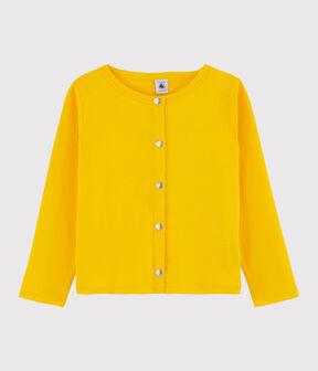 Cardigan en coton enfant fille jaune Shine