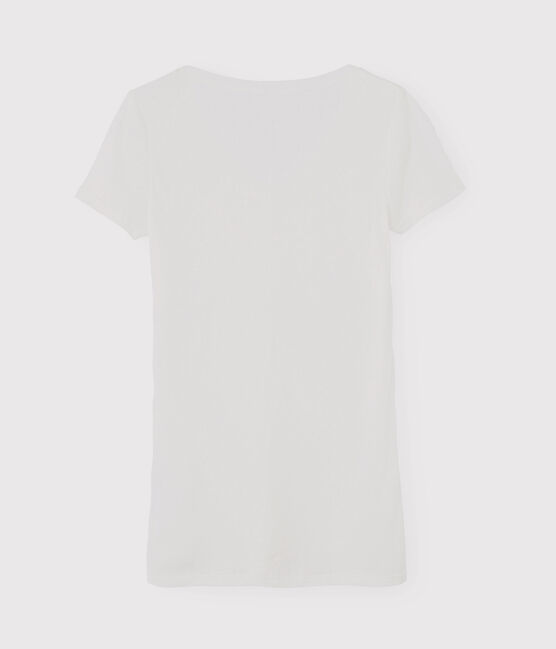 T-shirt col V iconique en coton Femme blanc Ecume