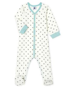 Dors bien bébé garçon en côte blanc Marshmallow / gris Gris