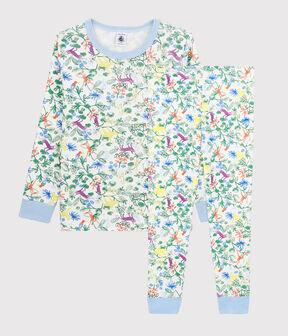Pyjama imprimé jungle petit garçon en coton blanc Marshmallow / blanc Multico