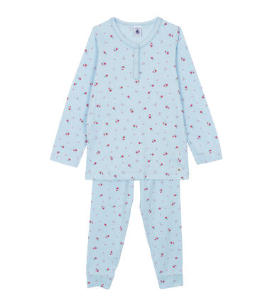 Pyjama fille bleu Fraicheur / blanc Multico