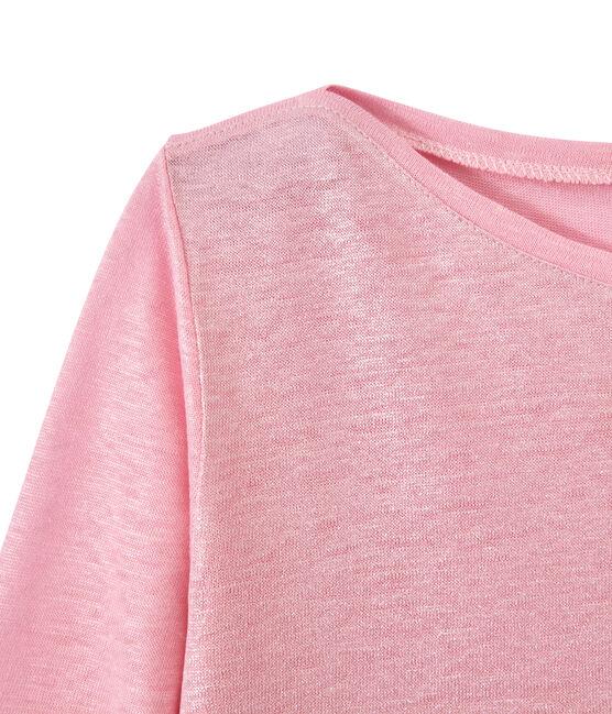 T-shirt femme manches longues en lin irisé rose Babylone / gris Argent