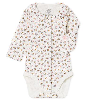 Body naissance manches longues bébé fille en côte blanc Marshmallow / rose Charme
