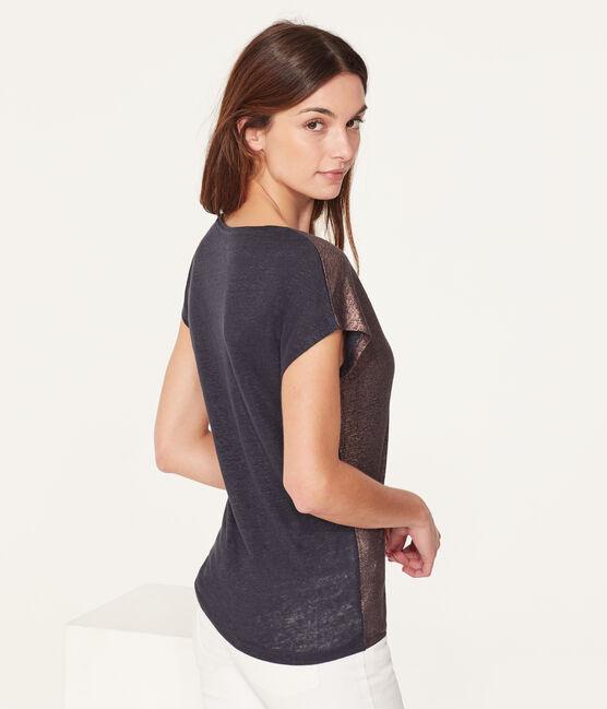 Tee-shirt manches courtes uni femme en lin irisé bleu Smoking / rose Copper