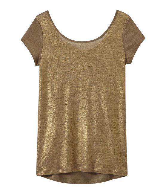 T-shirt femme col bénitier au dos en lin irisé marron Shitake / jaune Or