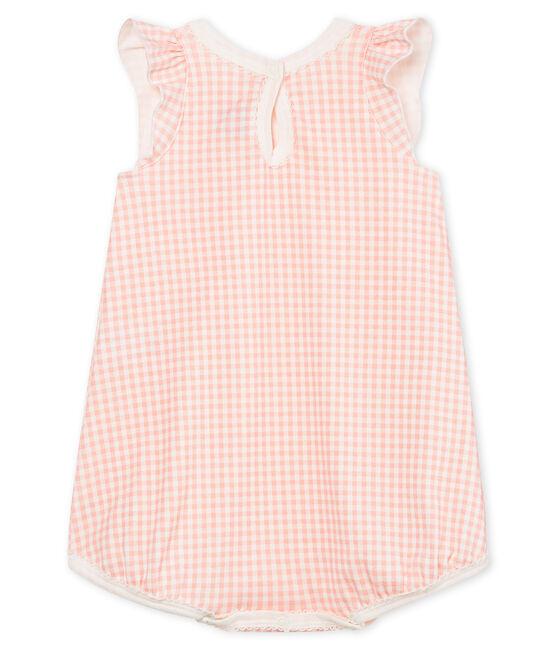 Combicourt bébé fille en côte blanc Marshmallow / rose Rosako