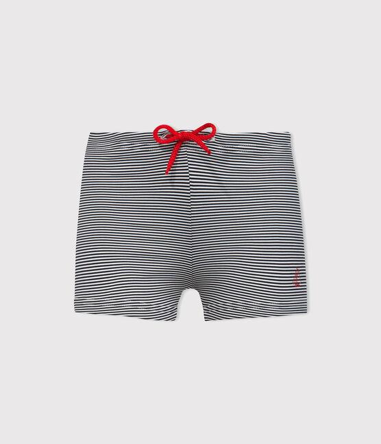 Short de bain UPF 50+ bébé garçon bleu Abysse / blanc Lait