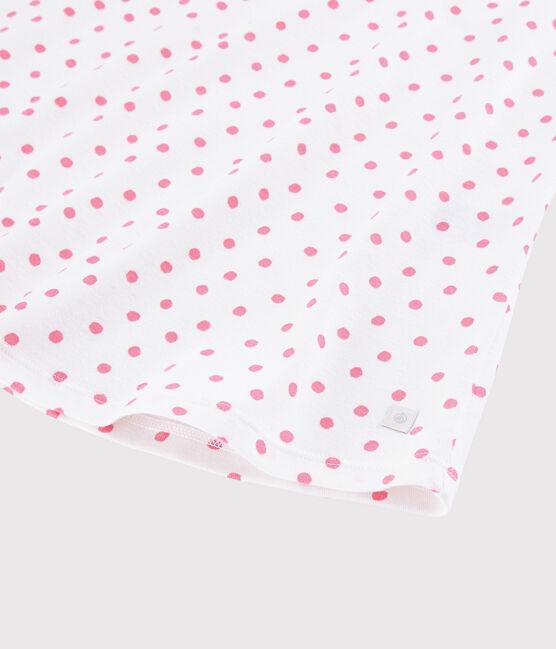 Chemise de nuit pois roses fille-femme en coton blanc Marshmallow / rose Gretel