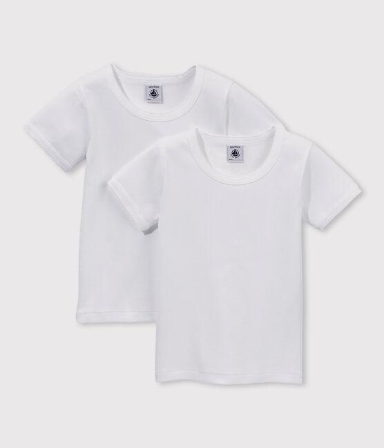 Lot de 2 tee-shirts blancs manches courtes fille lot .