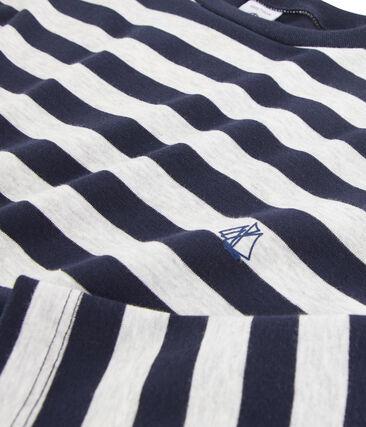 Tee shirt manches longues enfant garçon bleu Smoking / gris Beluga