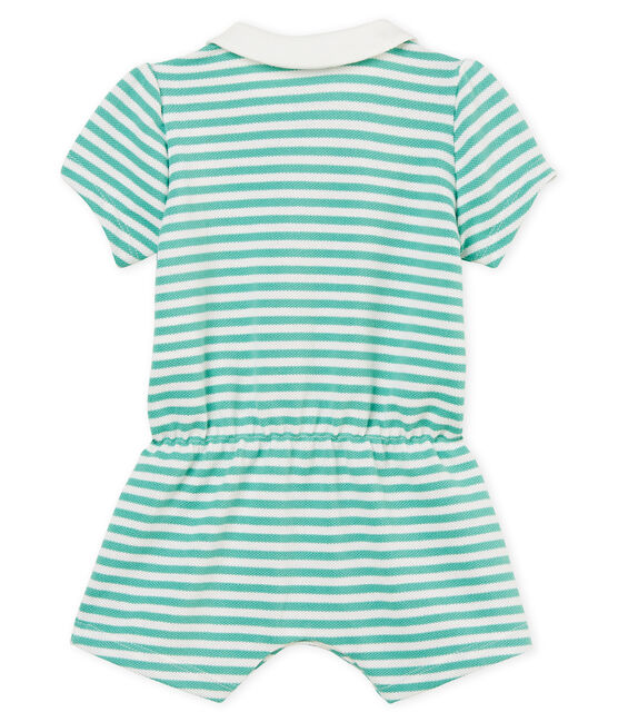 Combicourt polo bébé fille rayé vert Aloevera / blanc Marshmallow