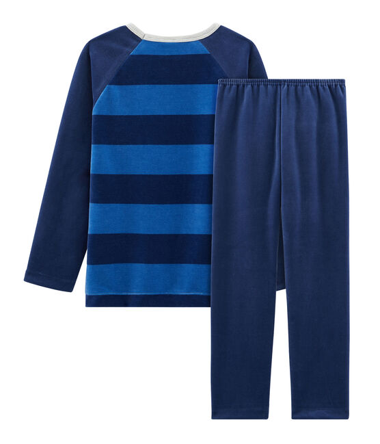 Pyjama petit garçon en velours bleu Medieval / bleu Major