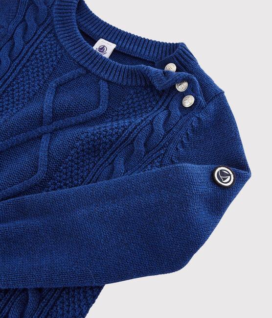 Pull laine et coton enfant garçon bleu Major