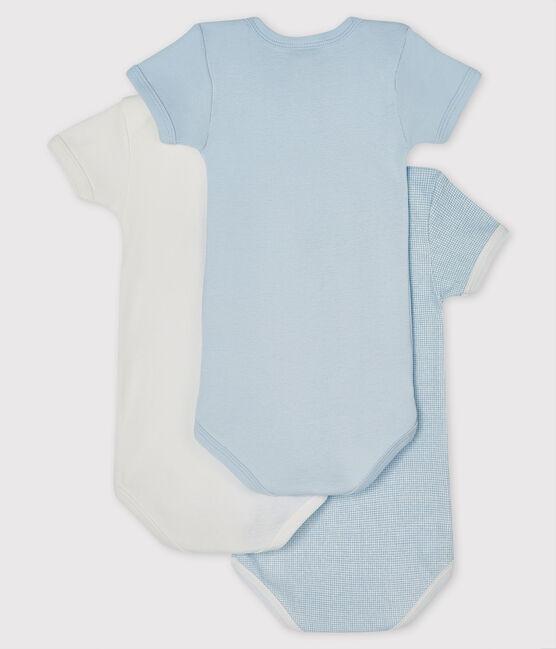 Lot de 3 bodies bleus et blanc manches courtes bébé garçon lot .