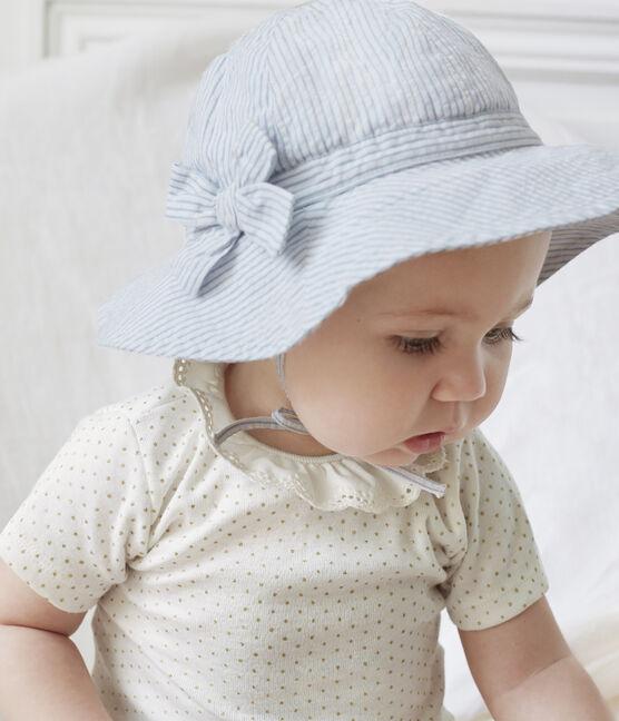 Capeline en seersucker bébé fille blanc Marshmallow / bleu Acier