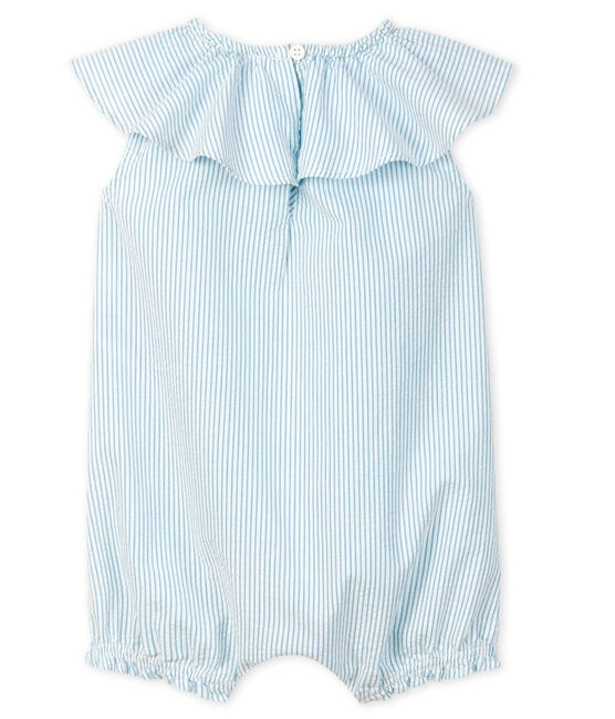Combicourt bébé fille en seersucker blanc Marshmallow / bleu Acier
