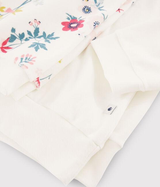 Pyjama fille / femme à fleurs bimatière blanc Marshmallow / blanc Multico