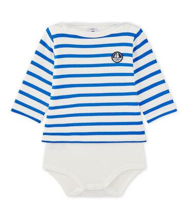 Body marinière bébé manches longues blanc Marshmallow / bleu Perse