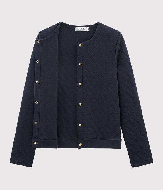 Cardigan en tricot tubulaire pour femme bleu Smoking