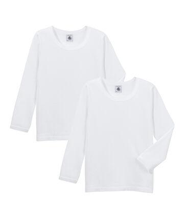 Lot de deux t-shirts fille manches longues uni à point cocotte
