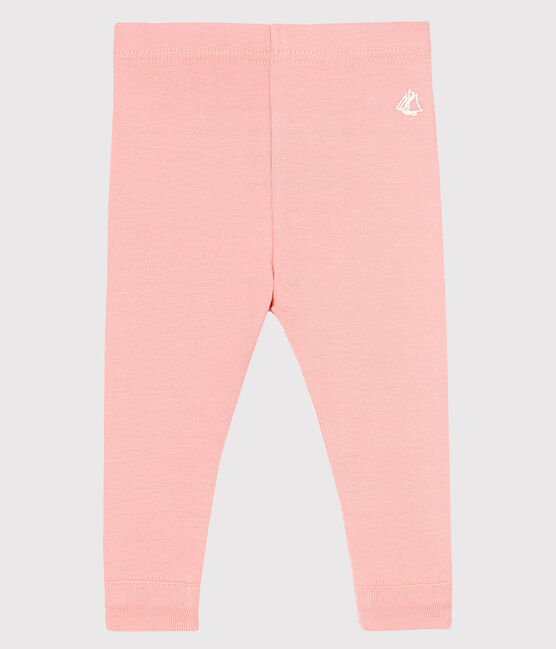 Legging bébé fille en côte 1x1 unie rose Cheek