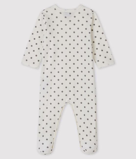 Dors-bien à étoiles bébé en côte blanc Marshmallow / gris Gris