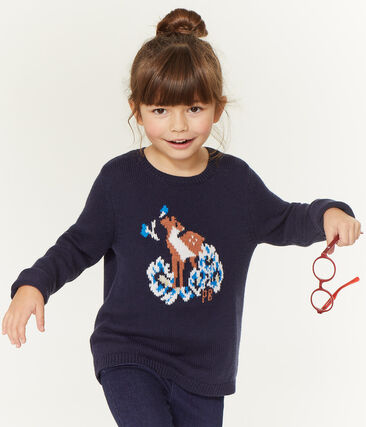 Pull enfant fille bleu Smoking / blanc Multico