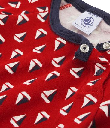 Tee-shirt imprimé bébé garçon beige Coquille / rouge Terkuit