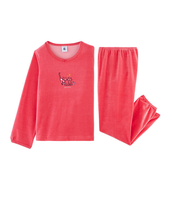 Pyjama petite fille en velours rouge Signal