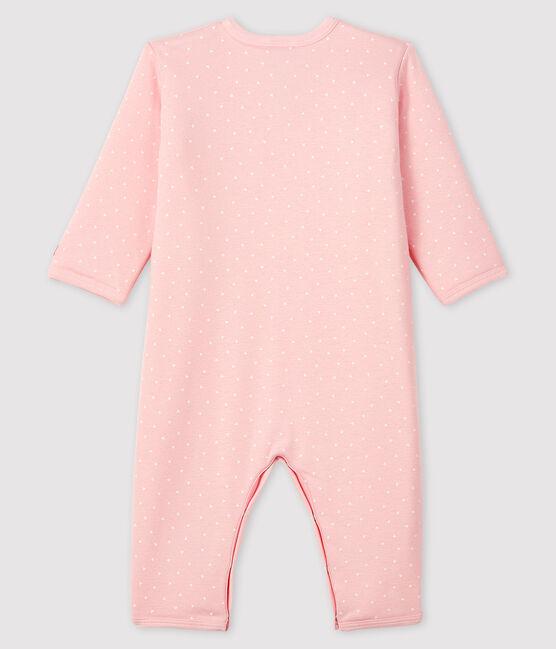 Dors-bien sans pieds bébé fille en côte ouatinée rose Minois / blanc Marshmallow
