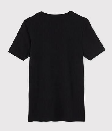 Tee shirt manches courtes iconique en côte originale 100% coton. noir Noir