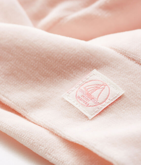 Bonnet naissance bébé en velours rose Fleur