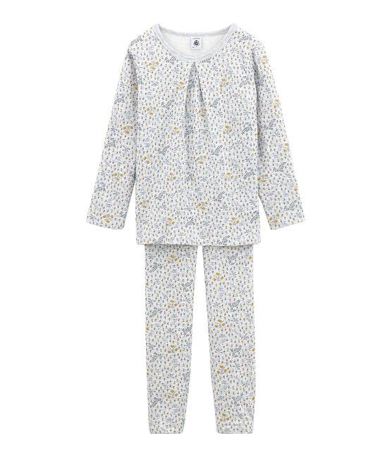 Pyjama petite fille en tubique gris Poussiere / blanc Multico