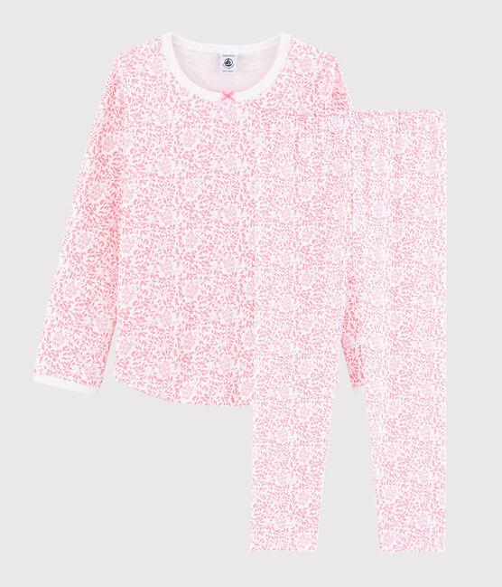 Pyjama fleur rose petite fille en côte blanc Marshmallow / rose Gretel