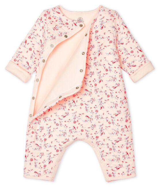 Combinaison longue bébé mixte en tubique rose Fleur / blanc Multico