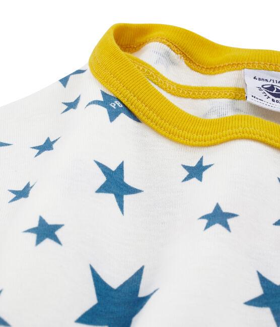 Pyjacourt petit garçon en côte blanc Marshmallow / bleu Alaska