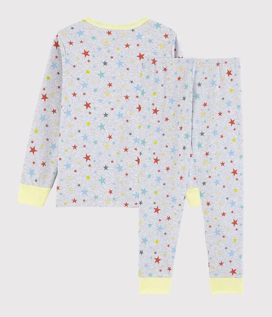 Pyjama gris chiné à étoiles petit garçon en coton gris Poussiere / blanc Multico
